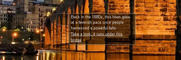 Back in the 1880s, this town grew at a feverish pace once people harnessed a powerful falls. Take a look, it runs under this bridge.
