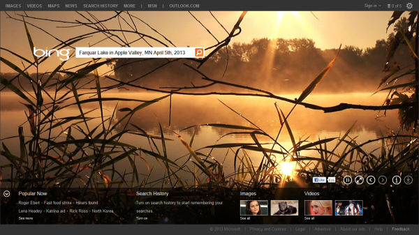 Bing.com Homepage 2013-04-05 of Farquar Lake in Apple Valley, Minnesota