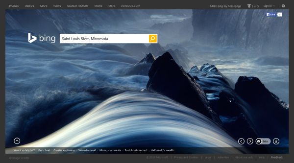 On Sunday, January 19th, 2014, the Bing.com homepage featured the Saint Louis River in Minnesota.