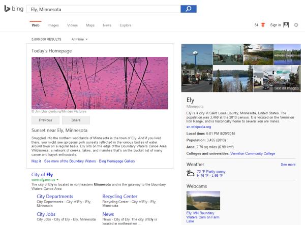 Bing.com SERP for Ely Minnesota on 08-29-2015