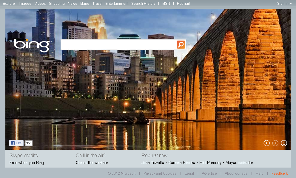 Bing.com Homepage Downtown Minneapolis Minnesota