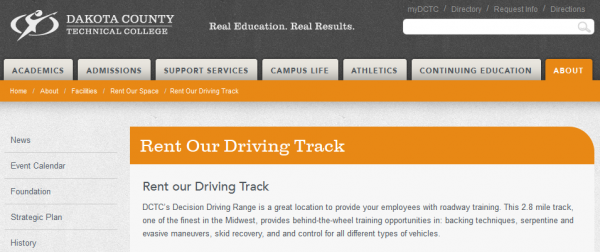Rent the Dakota County Technical College Driving Track